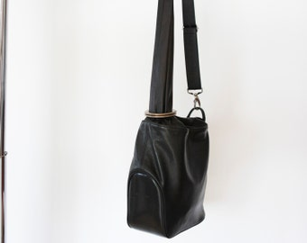 Slouchy black purse, black leather crossbody bag  - the Indulgent