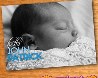Printed Hello Color Block Blue Baby Boy Birth Announcement