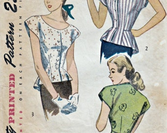 1940s Peplum Blouse Pattern  SIMPLICITY 2027  1947 Cap Sleeve Blouse Front Closing Peplum Blouse  Vintage Sewing Pattern  Bust 30