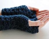 Blue wrist warmers, fingerless mittens, hand-crocheted & ready to ship