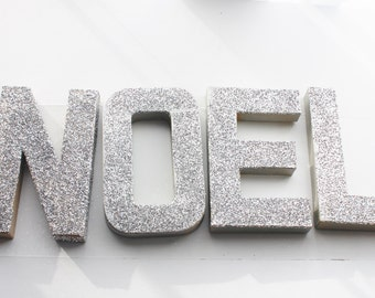 SALE GLITTER NOEL Sign Letters Gold Or Silver Paper Mache Holiday Christmas Decor Mantle Glittery Sparkle Custom Words Ships Fast