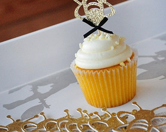 Bumble Bee Cupcake Topper 12CT.  Handcrafted in 2-3 Business Days.  Mommy to Bee.  What Will it Bee.  Sweet As Can Bee.