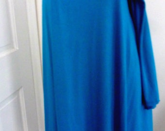 Turquoise one shoulder rayon lycra top with stitch detail
