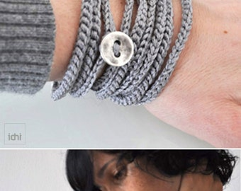Textile Jewelry. Crochet Bracelet and Necklace in one piece. Coiled Bracelet. Silver color. Friendship bracelet