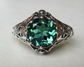 Art Nouveau Emerald Solitaire Ring in Sterling Silver Size 5 6 8 9 10 Antique Precious Gemstone Victorian Edwardian Floral Bridal Bohemian