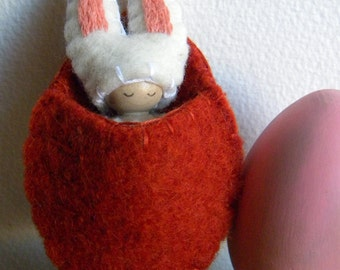 Bunny in Carrot Pouch, Waldorf Peg Doll, Easter Basket Toy, Spring Rabbit, White, Peach, Yellow, Upcycled wool felt, wood, eco toy