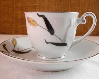 VINTAGE FUKAGAWA JAPAN Arita Cup & Saucer Demitasse Cup and Saucer Wheat Pattern Hand Painted Japan Small Tea Cup Set Hand Painted Japan