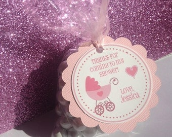 Baby Shower Tags, Baby Girl, Shower Tags, Baby Shower Thank You Tags