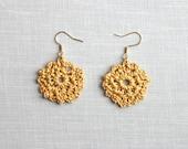 Metallic Golden Crochet Earrings , Circle Shape Cotton Earrings, Gold Bohemian Jewelry, Boho Earrings, hand-crocheted gift for women
