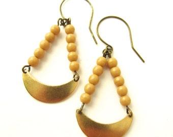 Beige Earrings Earrings Brass Crescent Earrings Brass Jewelry Dangle Earrings Beige Jewelry Handmade Jewelry