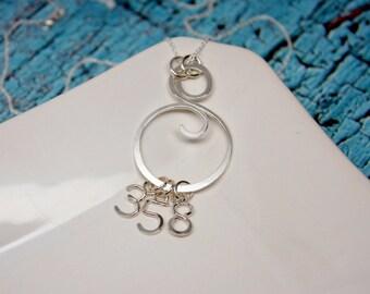 Swirl Charm Holder Pendant, Monogram Charm Pendant, Argentium Silver Swirl Pendant