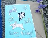 Jumping Rabbit's Happy Birthday Card