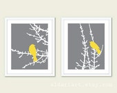 Birds on Branches Art Prints - Set of 2 - Slate Grey and Yellow - Modern Birds Wall Art - Woodland Nursery Art - Bird on Twig Art