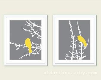 Birds on Branches Art Prints - Set of 2 - Slate Grey and Yellow - Modern Birds Wall Art - Woodland Nursery Art - Bird on Twig Art