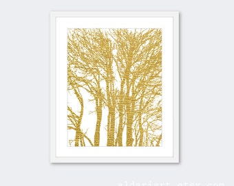 Gold Trees Art Print - Modern Tree Art - Gold Woodland Branches Wall Art - Home Decor