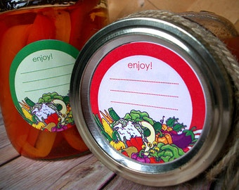 Enjoy Vegetable canning labels, 2 inch round mason jar labels, food preservation stickers, regular or wide mouth available