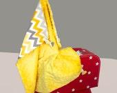 Embroidered Baby Blanket, Security Blanket, Lovey, Gender Neutral, Duck Stuffed Animal, Duck Blanket, Teething Toy, Sensory Blanket, Toy