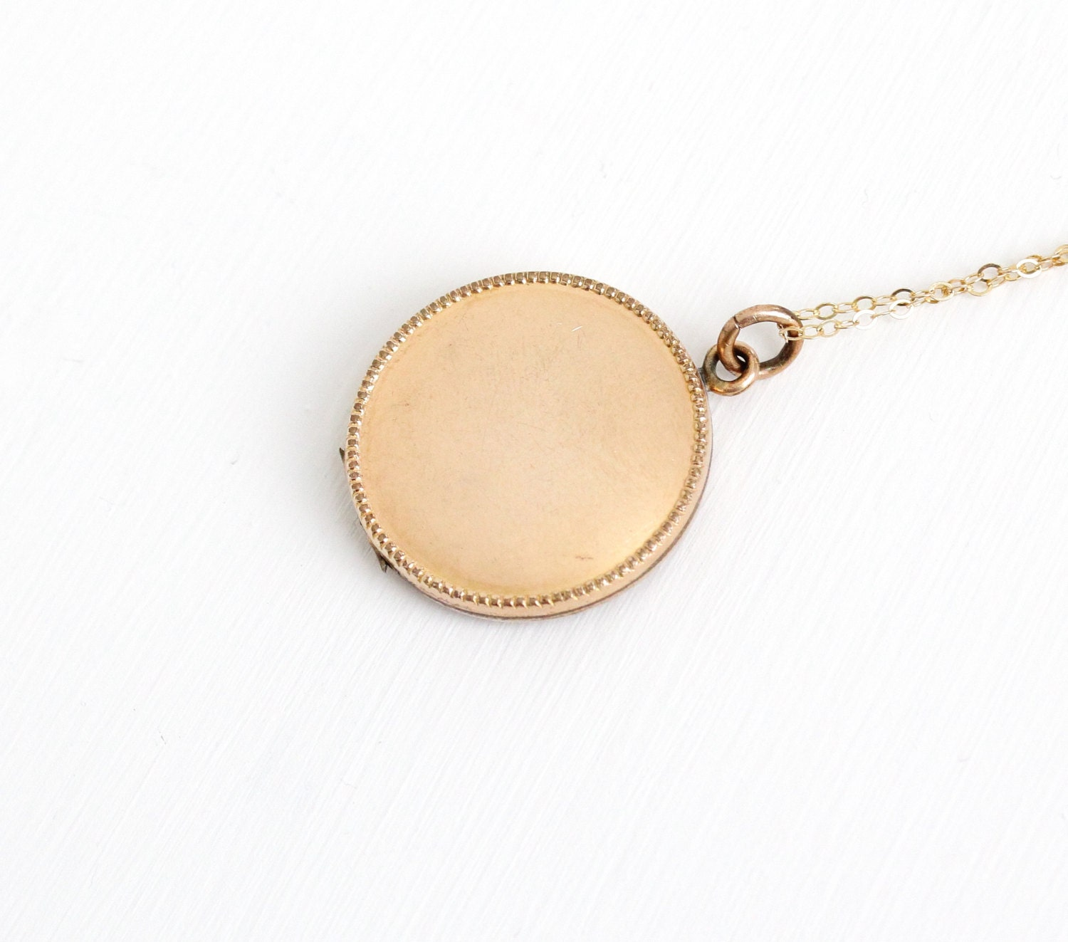 antique round 10k gold filled blank locket necklace early
