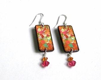 Summer Dangle Earrings Decoupaged Wood Crystal Drop Multicolor Boho Jewelry