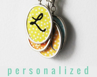 Initial Jewelry. Personalized Gifts for Her. Colorful Necklace Monogram Embroidery. Polka Dot Initial Necklace Under 50 ...