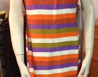 Striped Sheath Dress 1960s Leslie Faye Gold Buttons Short Sleeve Orange Purple Green Red Cream Austin Powers Mad Men MCM Small