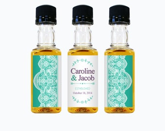 Custom mini liquor bottle labels wedding favors by for Custom liquor bottles