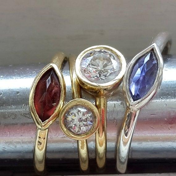 garnet 14k gold ring engagement ring by venexiajewelry