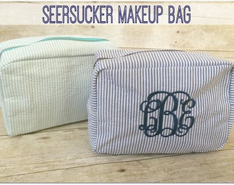 Monogrammed Seersucker Makeup Bag