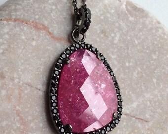 RED quartz necklace sterling faceted jewel elegant sparkly pendant burgundy black