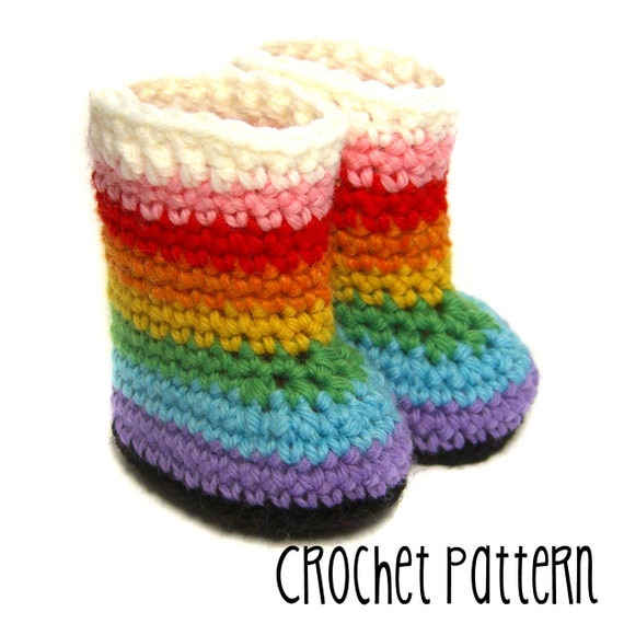 PATTERN Tutorial Crochet Boot - Rainbow or Plain - Waldorf Doll Pattern