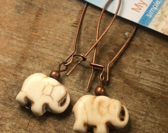 white Howlite Elephant stone antique copper earrings - gemstone - kidney wire - long - animal totem medicine - rustic bohemian