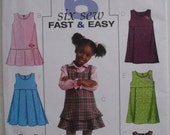 Very Easy Girl's Jumper Sewing Pattern - Butterick 4842 - Sizes 4-5-6, Breast 23 - 25, Uncut