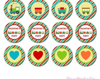 PRINTABLE Valentine's Train Party Circles
