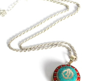 Hindu Om locket Prayer Box Amulet Pendant Turquoise and red coral inlay Yoga Buddhist Meditation Jewelry Bohemian spiritual ethnic by Inali