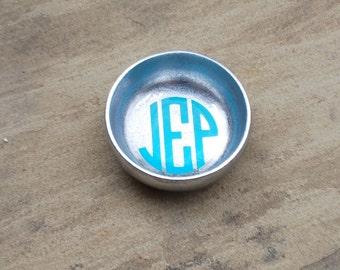 Monogram Jewelry Dish - Bridesmaid Gift - Aluminum Bowl Night Stand Catch All - Ring Holder
