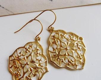 Gold Oriental Filigree Earrings - Bohemian Tribal Moroccan Style - Everyday Modern Dangles