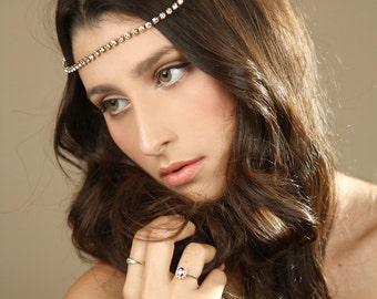 wedding gold hair chain/ Gold Crystal Rhinestone hair chain/ Boho Chain Hair accessories/ Bridal hair chain Headband/ Wedding crown