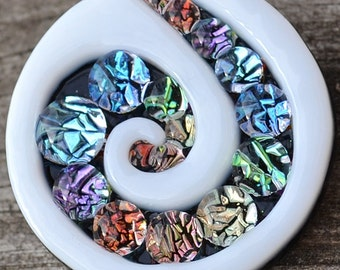 Rainbow Spiral Brooch // Dichroic Fused Glass Pin // StephGlass Original Art