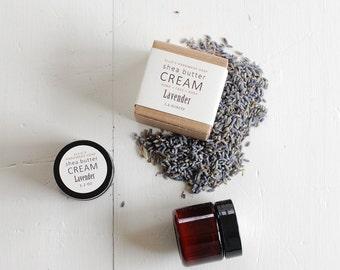 MINI - Lavender Shea Butter Cream - with pure essential oils + organic shea butter - paraben free - 1.2 ounces