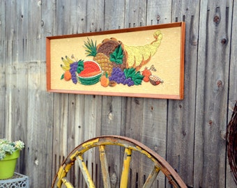 Fruit Cornucopia Gravel Art Mosaic: Vintage Framed, Bright Multi Colored Mid Century Mixed Media (pebbles rocks beads) FANTASTIC Condition