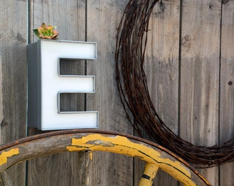 Vintage Marquee Sign Letter Capital 'E': Small Silver & White Wall Hanging Initial -- Industrial Neon Channel Advertising Salvage
