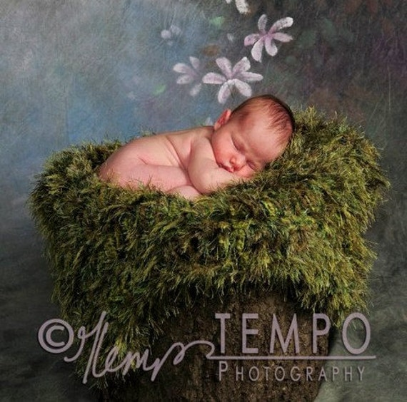 Mossy Baby Photo Props Green Grass Outdoor Look Infant Newborn Photography Prop