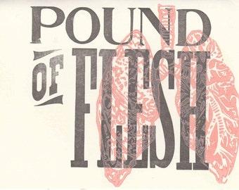 Pound of Flesh, Letterpress Card, Vintage, Antique, Woodtype, Linocut, Lungs, Idioms, Letterpress, Linocut Card, Handmade, Blank Inside