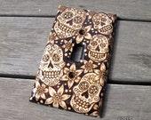 Wood Switch Plate Cover - Sugar Skull Dia de los Muertos Pyrography Home Decor