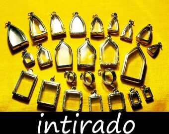 Intirado, Reliquary, Wholesale Lockets, Silver Tone Pendant Trays, Blank Vial, Planter, Shadow Box Supplies, Containers, Amulet Cases, 25pcs