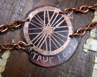 """Bicycle Themed """"True Love"""" Hand Engraved Copper Bracelet : Heat Patinaed, Classic Tatto Flash Inspired - Bike1"""