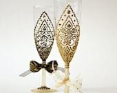 Gold Black Wedding Glasses ,Toasting Glasses, Champagne Flutes, Gatsby Style Wedding, Royal Glasses, Hand Painted set of 2
