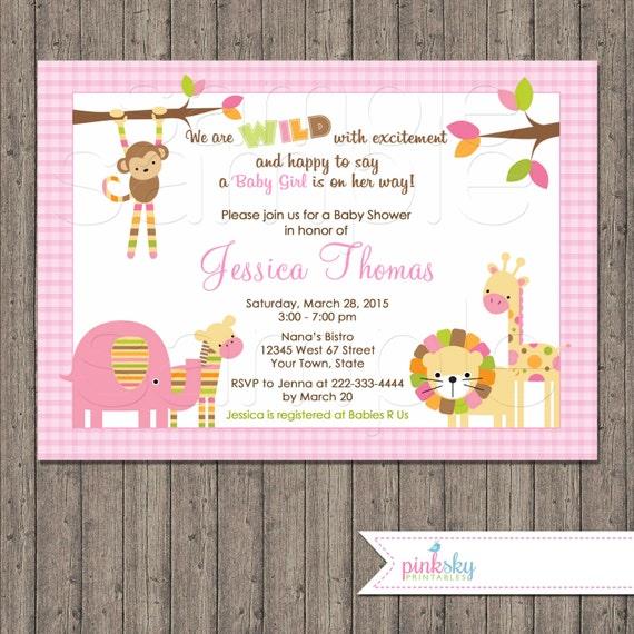 Jungle Animals Baby Shower Invitation, Girl, You Print, Pink