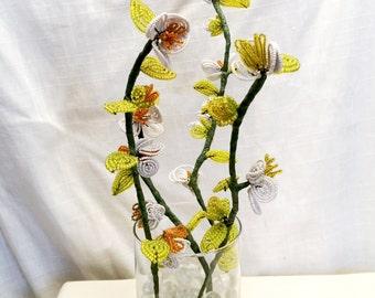 Set of Four Beautiful Vintage French Handmade Orange Green & White Beaded Flowers
