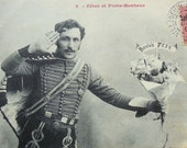 Antique French Postcard - Soldier with a Bunch of Flowers